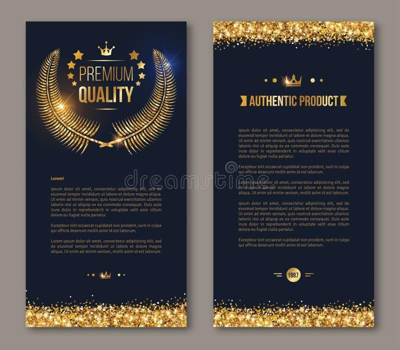 Diseño del folleto del negocio con la guirnalda de oro del laurel ilustración del vector