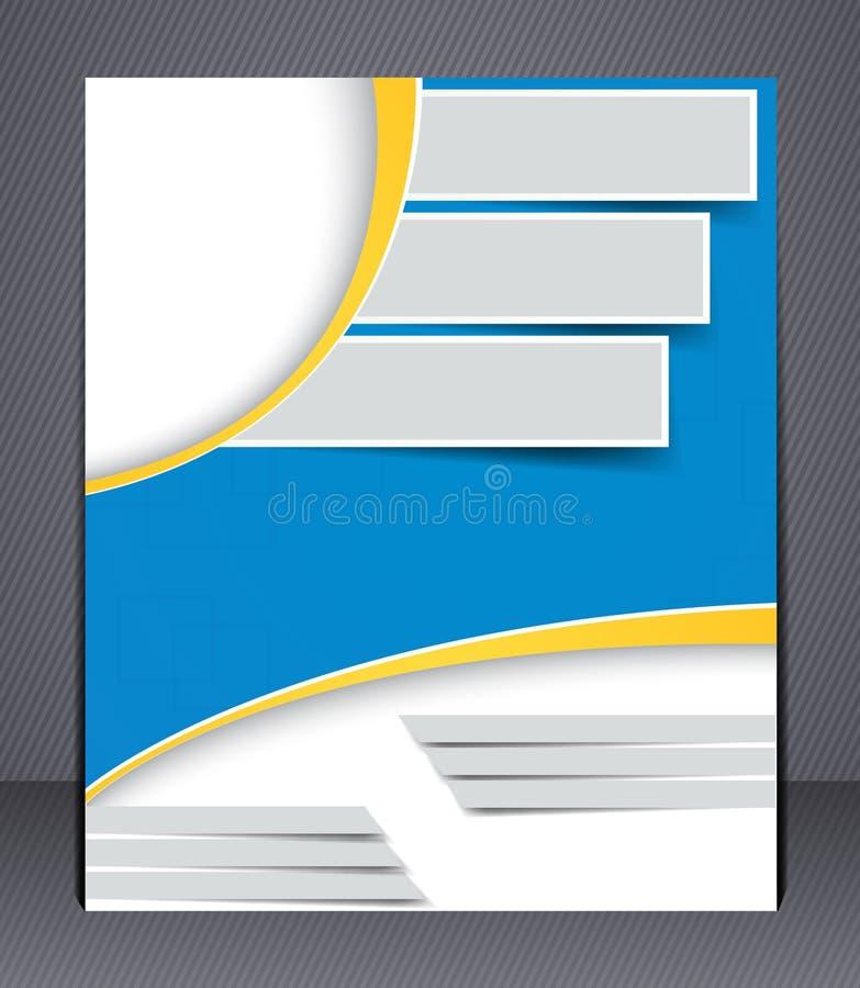 Diseño del folleto en colores azules y amarillos stock de ilustración