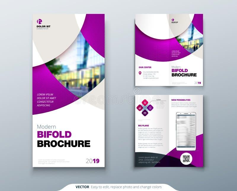Diseño del folleto o del aviador del doblez del BI con el círculo Aviador o folleto creativo del concepto stock de ilustración