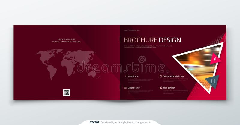 Diseño del folleto del paisaje Folleto rojo de la plantilla del rectángulo del negocio corporativo, informe, catálogo, revista fo ilustración del vector