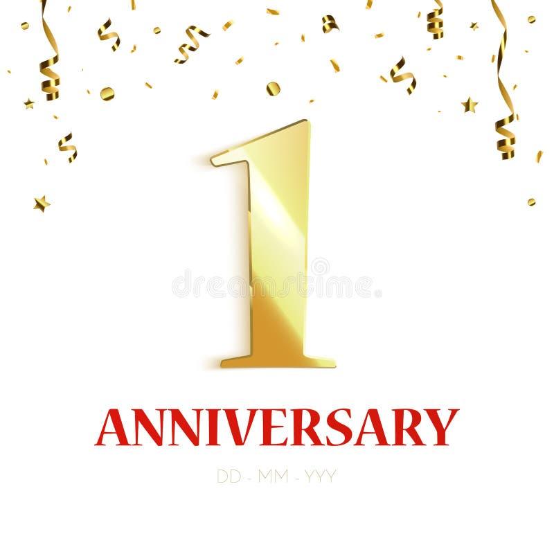 Diseño del fondo del aniversario con confeti del oro celebración del aniversario de 1 año stock de ilustración