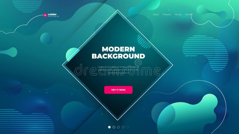 Diseño del fondo del color de Teal Liquid para el sitio de aterrizaje de la página con forma del daimond La pendiente fl?ida form ilustración del vector
