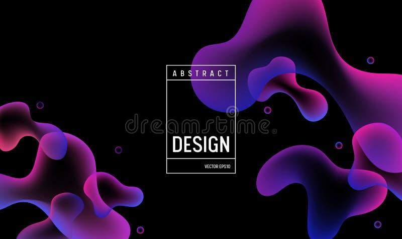 Diseño del fondo del color del gradiente hidráulico Cartel o página mínimo futurista flúido del aterrizaje Ejemplo de moda ilustración del vector