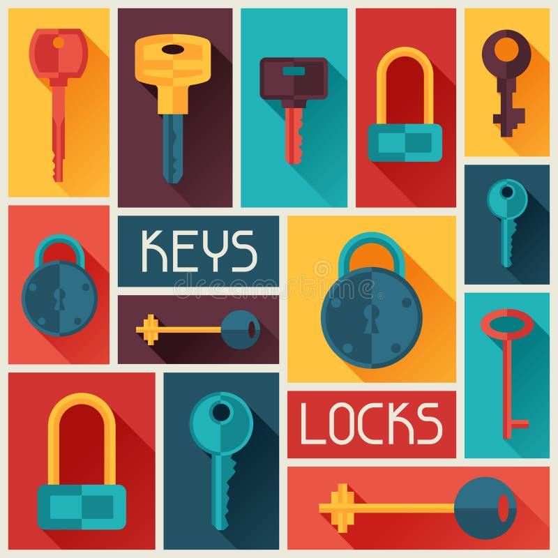 Diseño del fondo con las cerraduras y los iconos de las llaves libre illustration