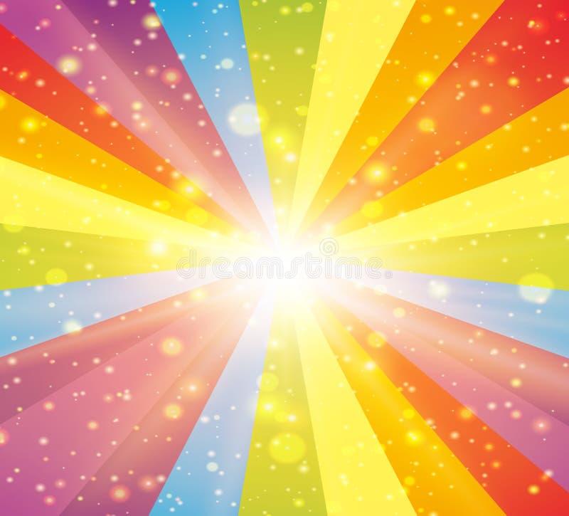 Diseño del fondo con las luces del arco iris ilustración del vector