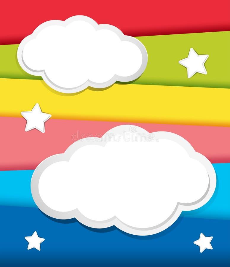 Diseño del fondo con las nubes y las estrellas stock de ilustración