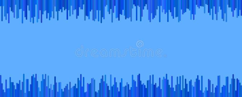 Diseño del fondo de la bandera - gráfico de vector horizontal de rayas verticales en tonos azules stock de ilustración