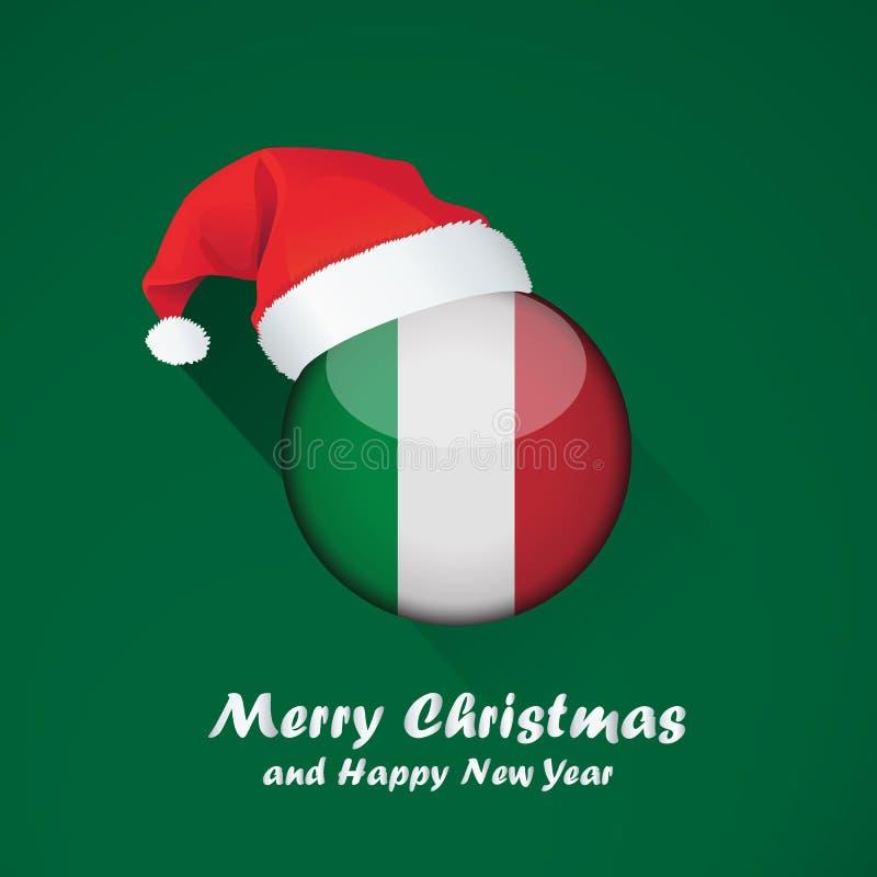 Diseño del fondo de la Feliz Navidad y de la Feliz Año Nuevo con la ronda brillante de la bandera stock de ilustración