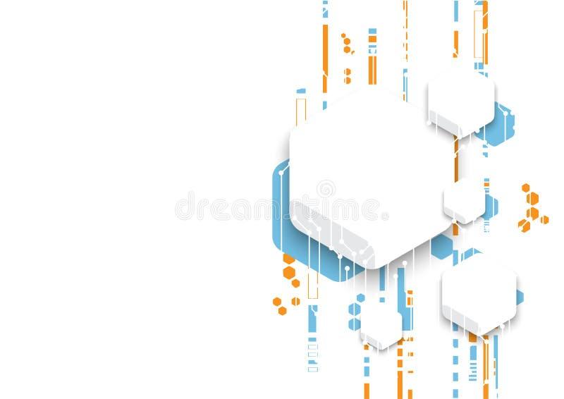 Diseño del fondo de la red de ordenadores de la tecnología del vector, bandera digital del hexágono stock de ilustración