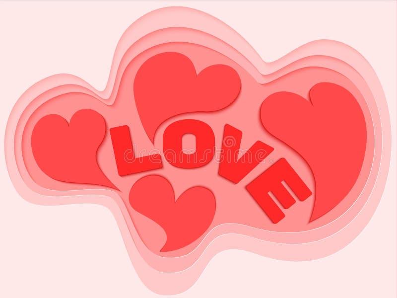 Diseño del fondo de los corazones para el día de tarjeta del día de San Valentín Símbolo del vector del amor en la forma del cora libre illustration