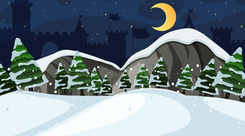 Diseño del fondo de paisaje con el campo de nieve en la noche ilustración del vector