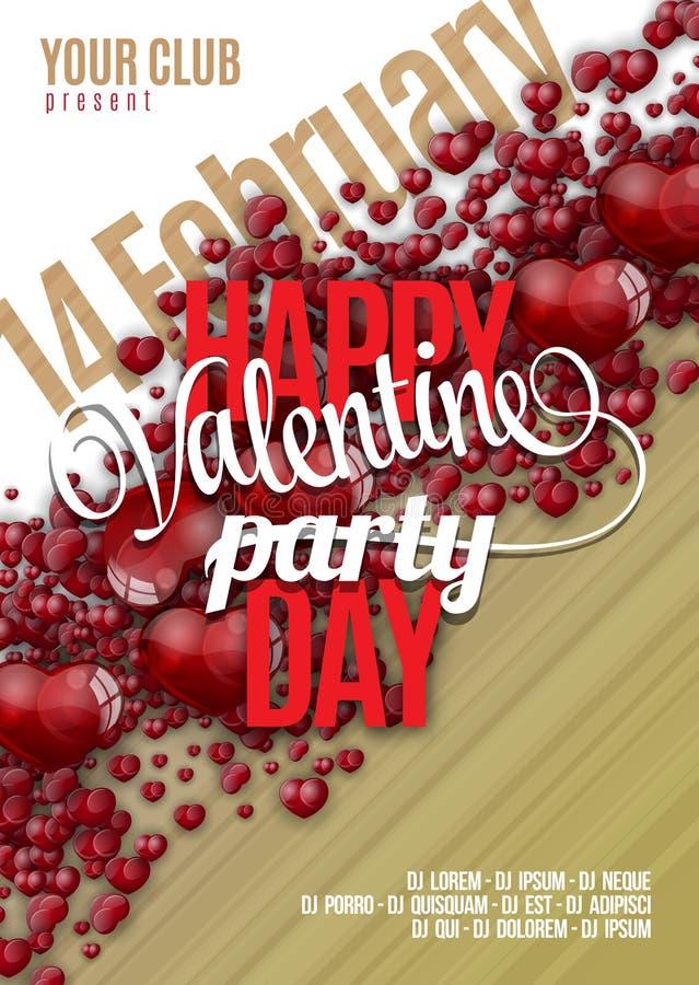 Diseño del fondo del aviador del partido del día de tarjetas del día de San Valentín Vector la plantilla de la invitación con los ilustración del vector