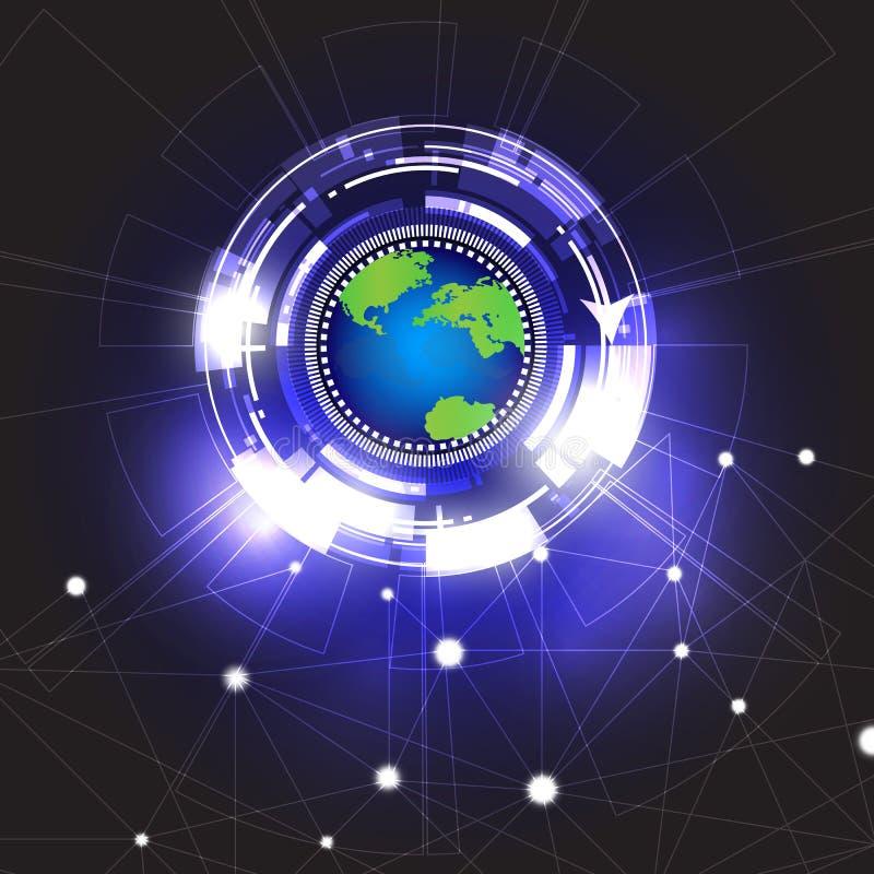 Diseño del fondo del extracto del círculo del vector fondo global de la tecnología del vector libre illustration