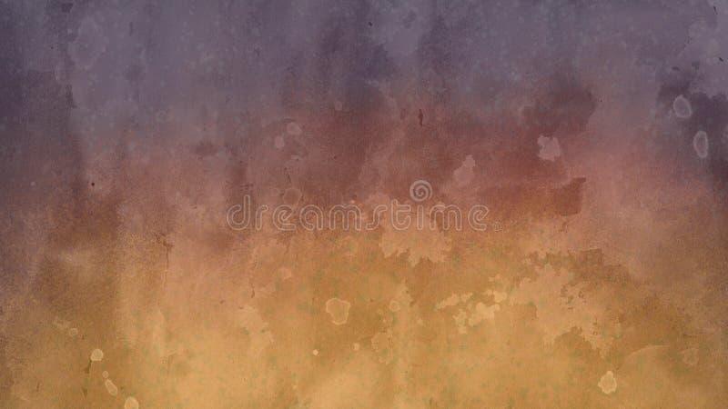 Diseño del fondo en amarillo y púrpura con el lavado de la acuarela y el diseño enturbiados blancos del corrimiento de la franja  stock de ilustración
