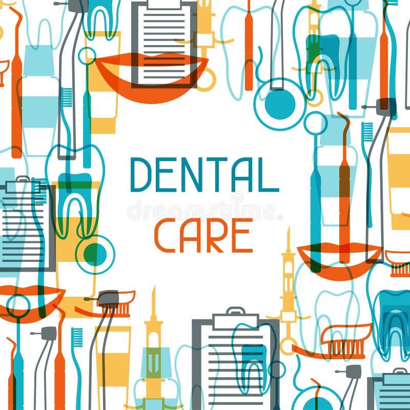 Diseño del fondo médico con los iconos dentales stock de ilustración