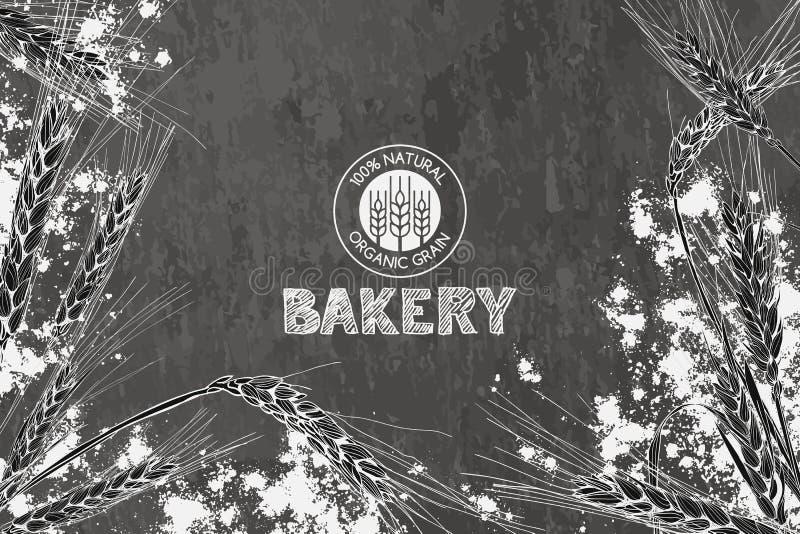 Diseño del fondo del vintage de la panadería del vector Concepto para el menú de la panadería, los productos orgánicos de la hari ilustración del vector