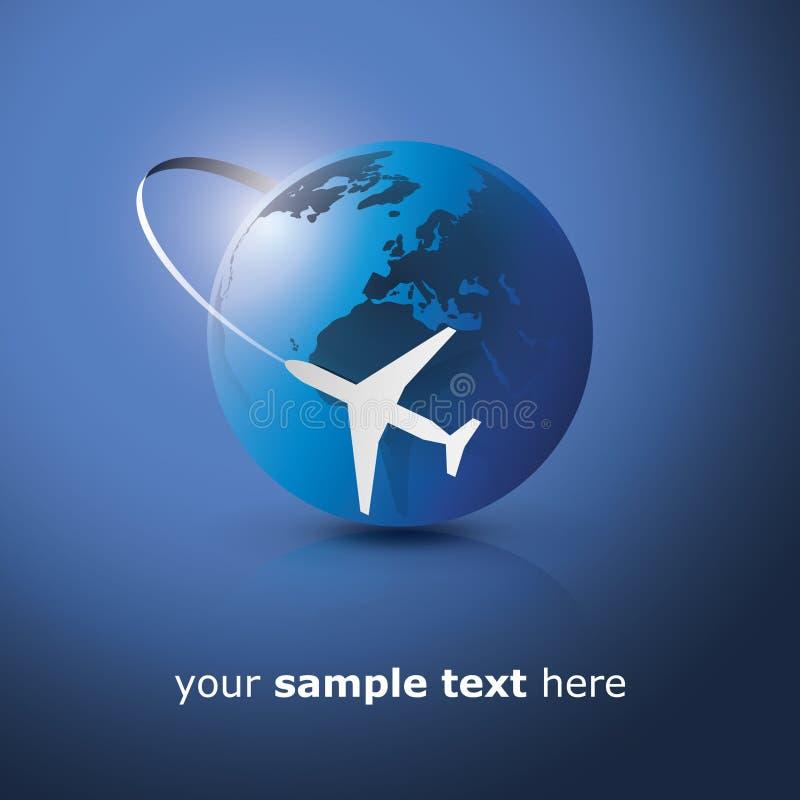 Diseño del globo con el aeroplano ilustración del vector