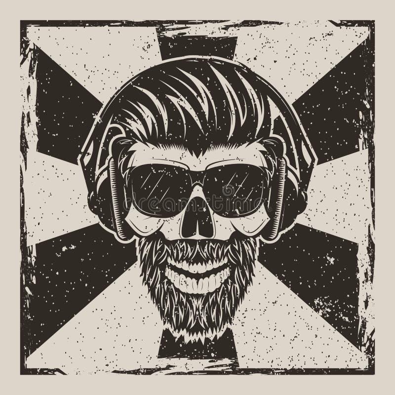 Diseño del grunge del vintage del vector del inconformista de la música del cráneo ilustración del vector