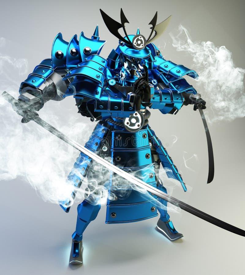 Diseño del guerrero del robot del samurai representaci?n 3d stock de ilustración