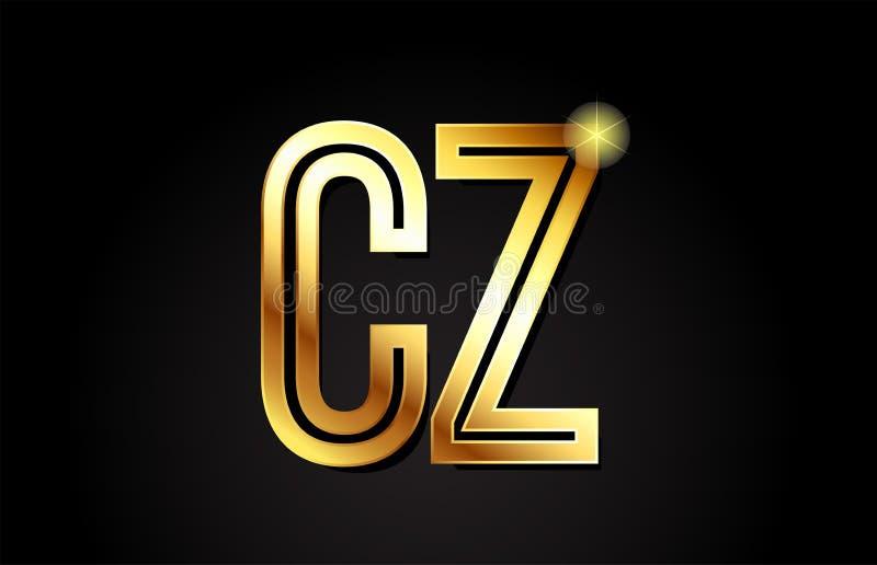diseño del icono de la combinación del logotipo de la CZ c z de la letra del alfabeto del oro libre illustration