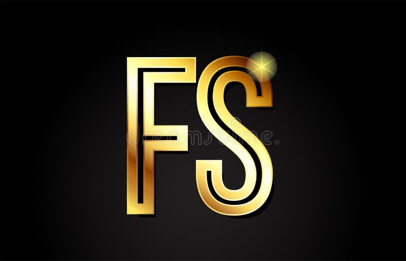diseño del icono de la combinación del logotipo del fs f s de la letra del alfabeto del oro libre illustration
