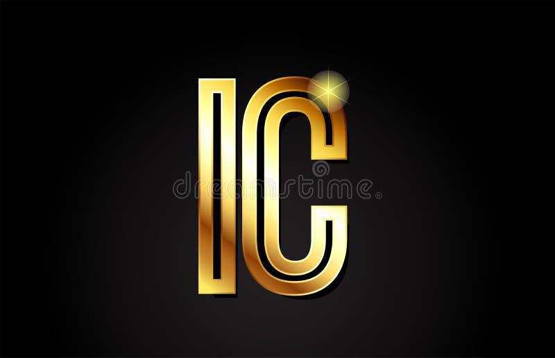 diseño del icono de la combinación del logotipo del ic i c de la letra del alfabeto del oro stock de ilustración