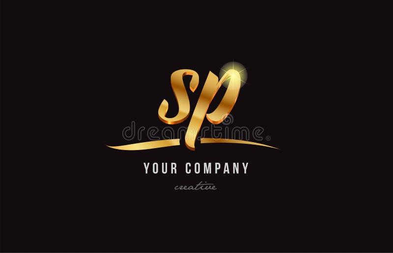 diseño del icono de la combinación del logotipo del SP s p de la letra del alfabeto del oro stock de ilustración