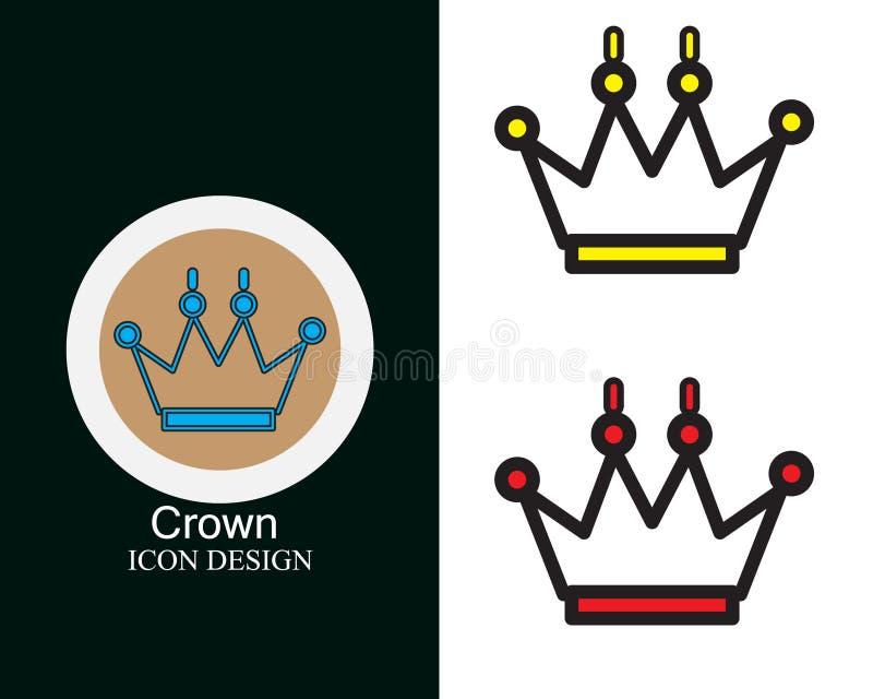 Diseño del icono de la corona con el lineart plano del estilo de tres colores libre illustration