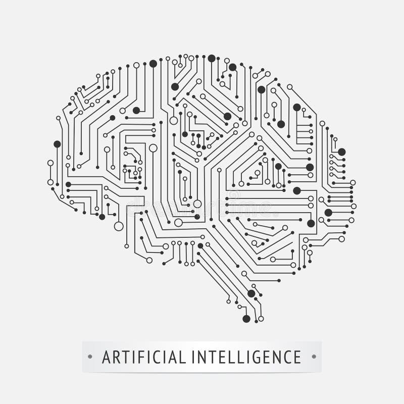 Diseño del icono de la inteligencia artificial del cerebro ilustración del vector