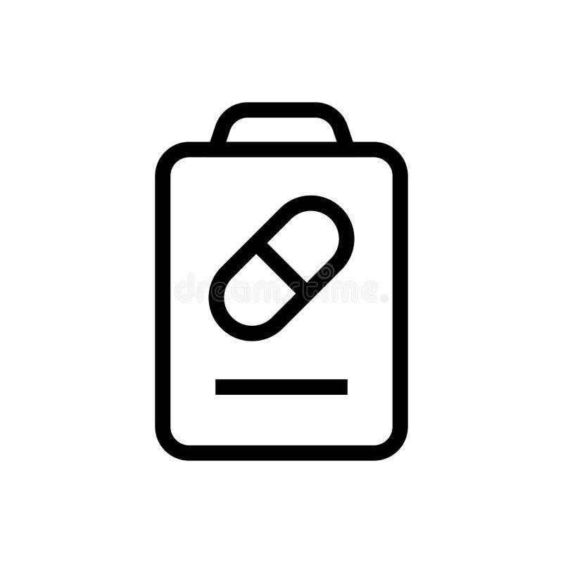 Diseño del icono de la lista de la información de la medicina línea ejemplo médico de la atención sanitaria del arte stock de ilustración