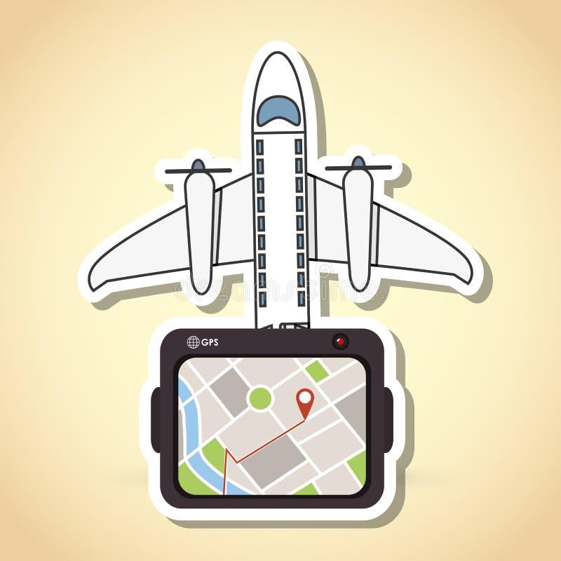 Diseño del icono de la tableta y del viaje stock de ilustración