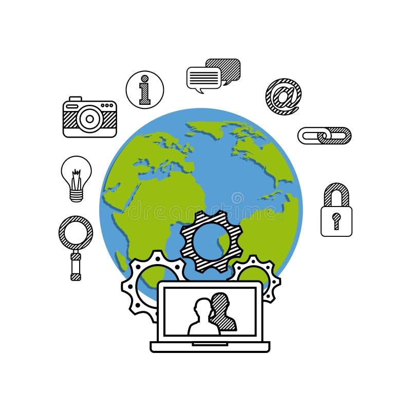 Diseño del icono de la tecnología stock de ilustración