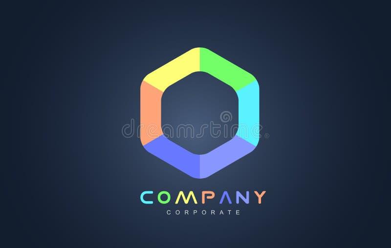 Diseño del icono del logotipo del hexágono del negocio corporativo stock de ilustración