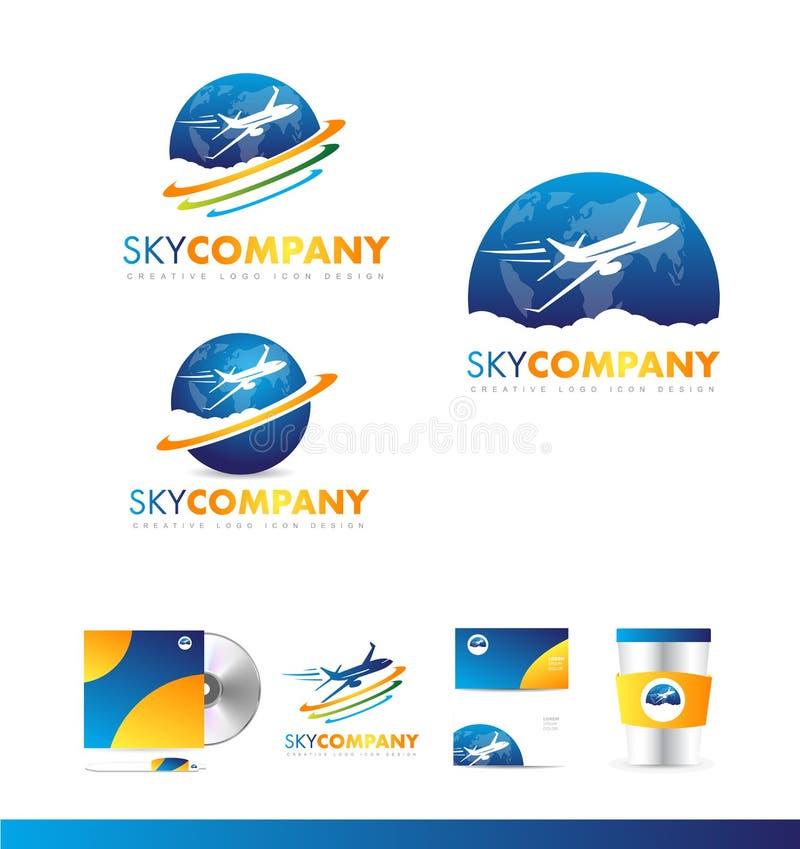 Diseño del icono del logotipo del viaje de la tierra del avión de aire stock de ilustración