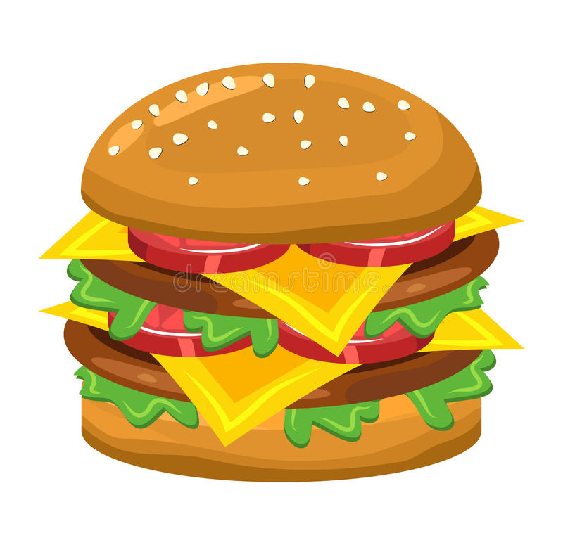 Diseño del icono del símbolo del vector de la hamburguesa stock de ilustración