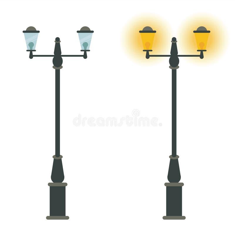 Diseño del icono del vector de la lámpara de calle Lan clásico del vintage de la ciudad al aire libre ilustración del vector