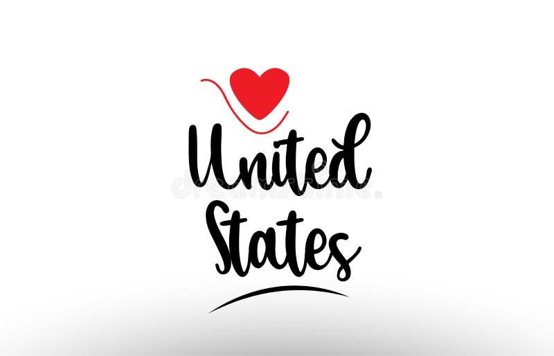 Diseño del icono del logotipo de la tipografía del texto del país de Estados Unidos los E.E.U.U. stock de ilustración