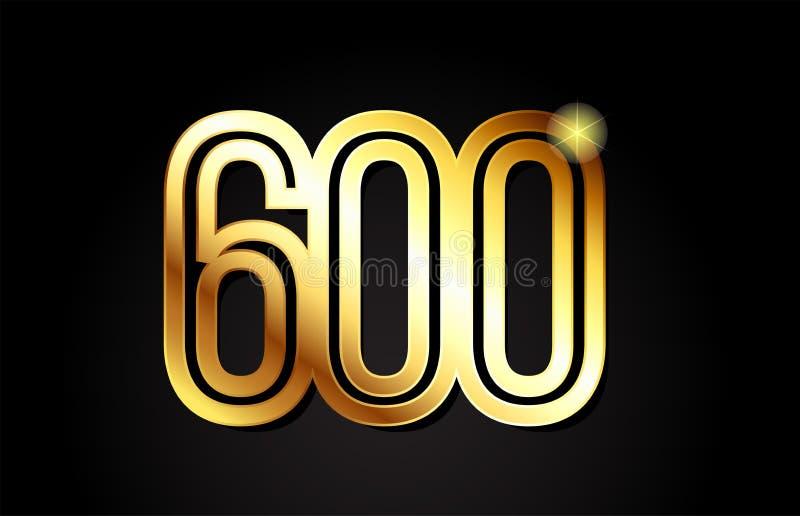 diseño del icono del logotipo del número 600 del oro ilustración del vector