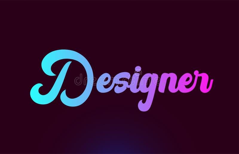 Diseño del icono del logotipo del texto de la palabra del rosa del diseñador para la tipografía libre illustration