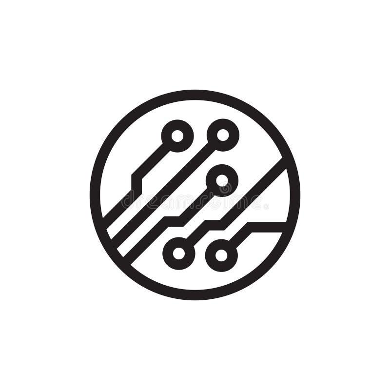 Diseño del icono del negro de la placa de circuito Muestra del chip de ordenador de Ekectronic Ilustraci?n del vector libre illustration