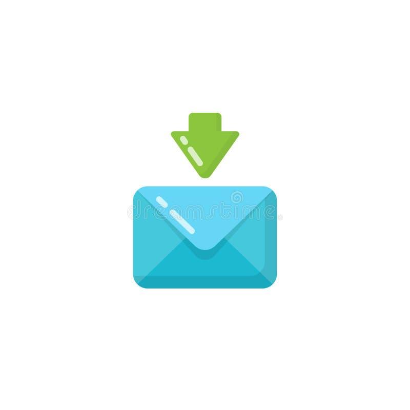 diseño del icono del sobre del mensaje entrante diseño recibido correo electrónico del icono ilustración del vector