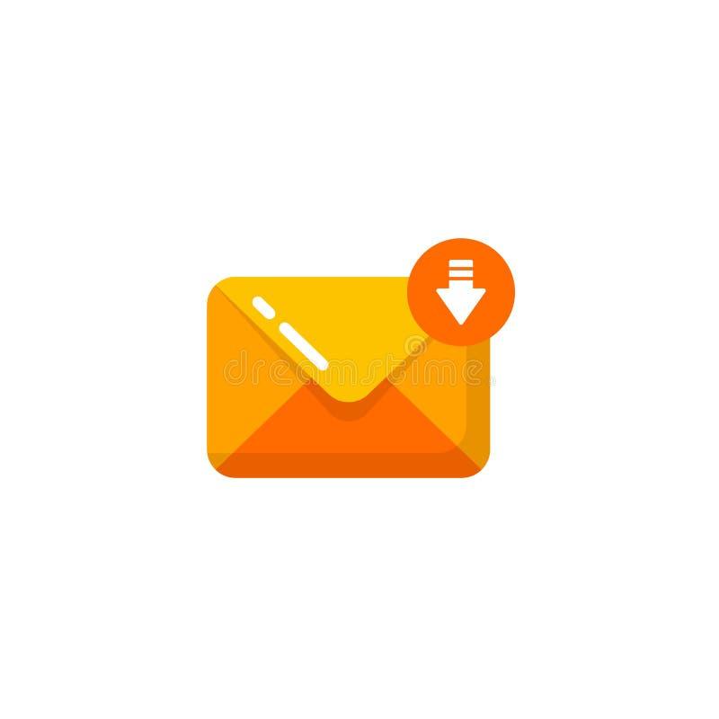 diseño del icono del sobre del mensaje entrante diseño recibido correo electrónico del icono stock de ilustración