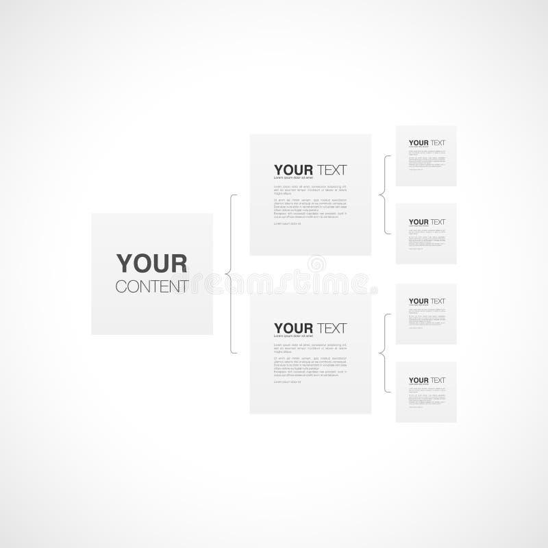 Diseño del infographics de la plantilla de la carta de organización con su texto stock de ilustración