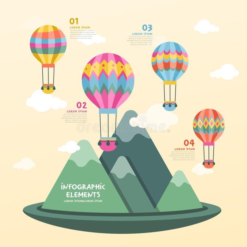 Diseño del infographics del globo del aire caliente ilustración del vector