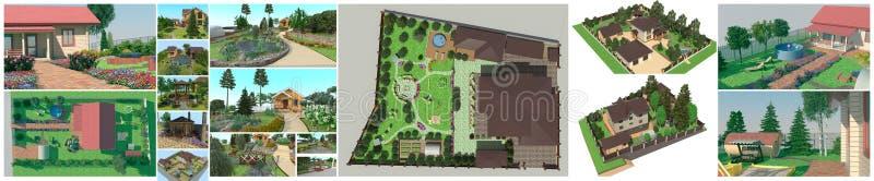 Diseño del jardín Un sistema de ejemplos en el paisaje de libre illustration
