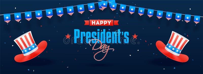 Diseño del jefe o de la bandera de Day de presidente feliz con el ejemplo de los sombreros del tío Sam libre illustration