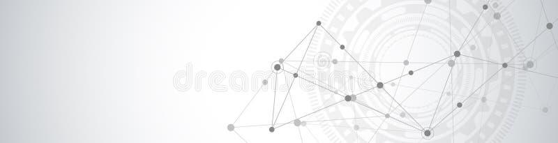 Diseño del jefe o de la bandera de la página web con el fondo geométrico abstracto y puntos y líneas de conexión Red global ilustración del vector