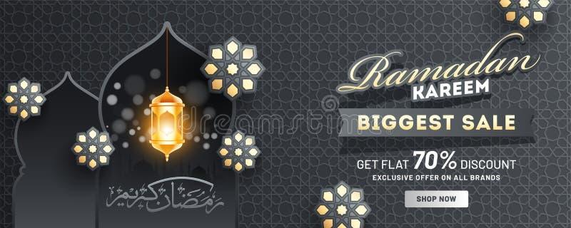 Diseño del jefe o de la bandera de Ramadan Kareem Biggest Sale con la oferta del descuento del 70%, la linterna iluminada y el mo libre illustration