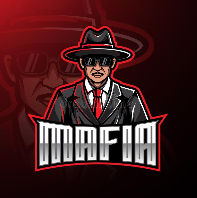 Diseño del juego de la mascota del logotipo de la mafia ilustración del vector