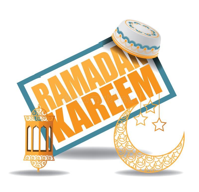 Diseño del kareem del Ramadán con la luna y el sombrero stock de ilustración